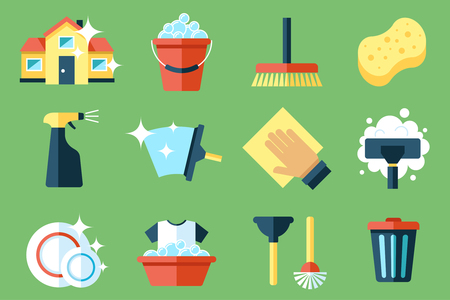 Montage of cleaning items - buckets, brushes, mops etc.
