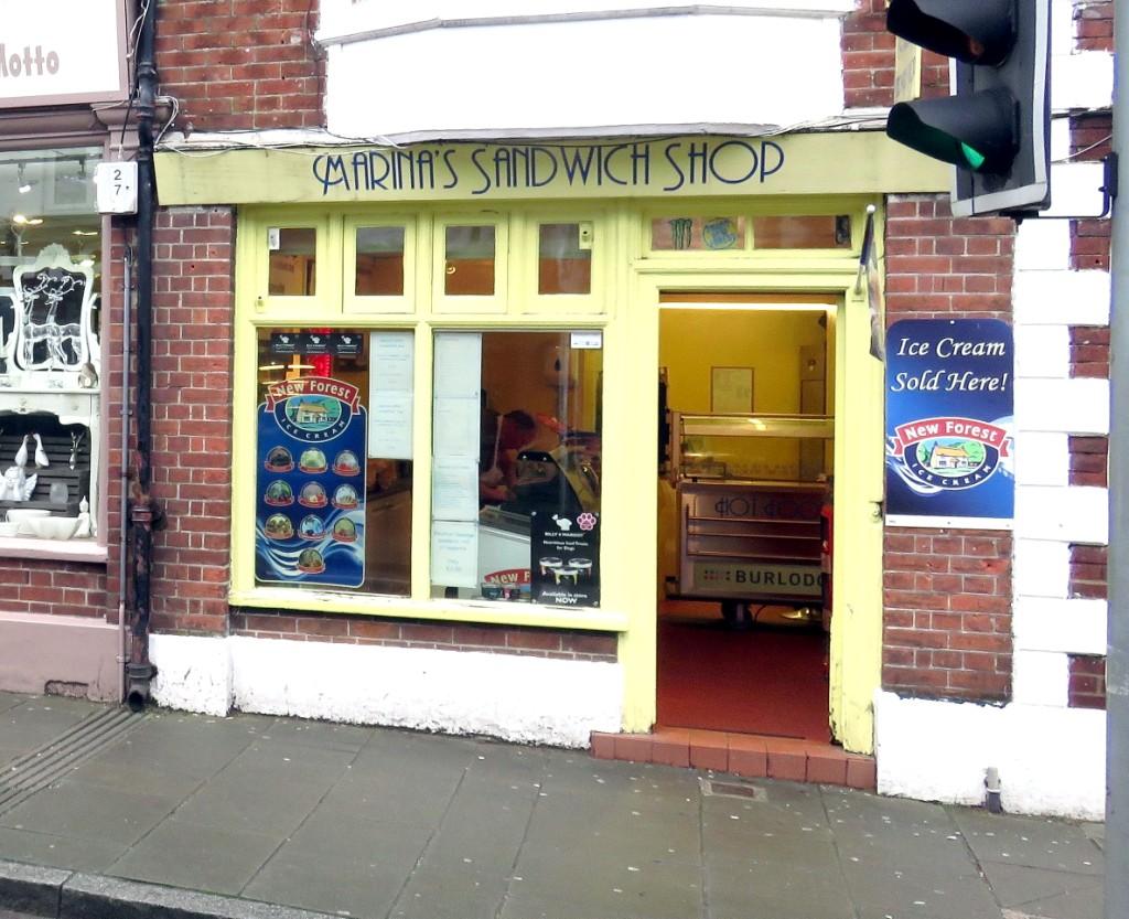 Shop front of Marina's Sandwich Shop