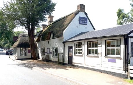 Exterior of thatched New Forest tea rooms
