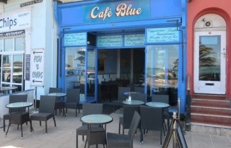 Seafront cafe with pavement seating