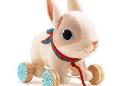 Pull-along toy rabbit