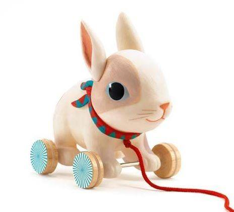 Pull-along toy rabbit